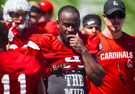 Ball State's Malik Dunner on the sidelines during the team's scrimmage at Scheumann Stadium Saturday.
