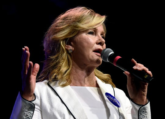 U.S. Sen. Marsha Blackburn speaks during a fundraiser for Republican state Sen. Jack Johnson of Franklin, at The Factory on Friday, August 9, 2019, in Franklin, Tenn. The 13th annual Boots & Jeans, BBQ & Beans is hosted by State Sen. Jack Johnson, R-Franklin.