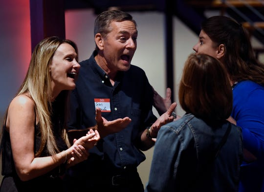 State Rep. Glen Casada talks with a group of people before U.S. Sen. Marco Rubio speaks during a fundraiser at The Factory on Friday, August 9, 2019, in Franklin, Tenn. The 13th annual Boots & Jeans, BBQ & Beans is hosted by State Sen. Jack Johnson, R-Franklin