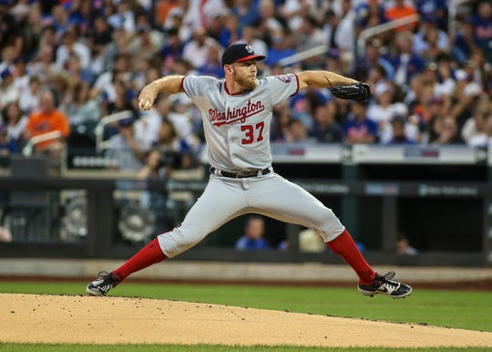 Washington Nationals pitcher Stephen Strasburg (37) pitches in the first inning against the New York Mets at Citi Field.