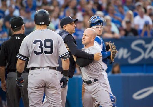 pretty nice 08332 d6183 Brett Gardner thrown out of game as New York Yankees' win ...