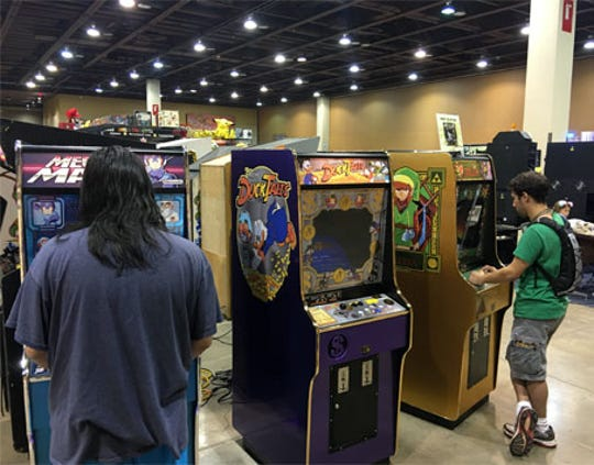 2019 Game On Expo attendees can play various arcade games throughout the weekend.