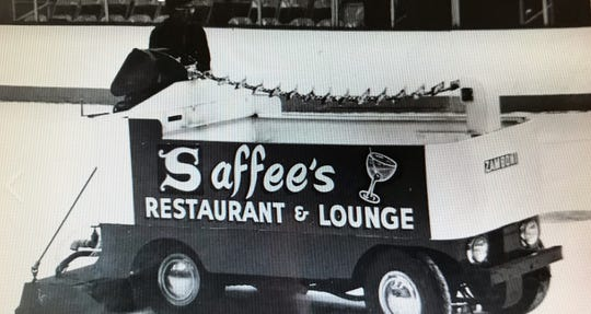 "An image of the old McMorran Zamboni with a Saffee's Restaurant and Lounge logo on the side. The vehicle is still in city storage, and City Manager James Freed called it ""an iconic piece of McMorran history."""