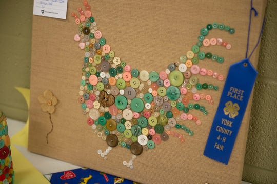 This colorful rooster won a blue ribbon for button artwork at the York County 4-H Fair in West Manchester Township on Saturday, Aug. 10, 2019.