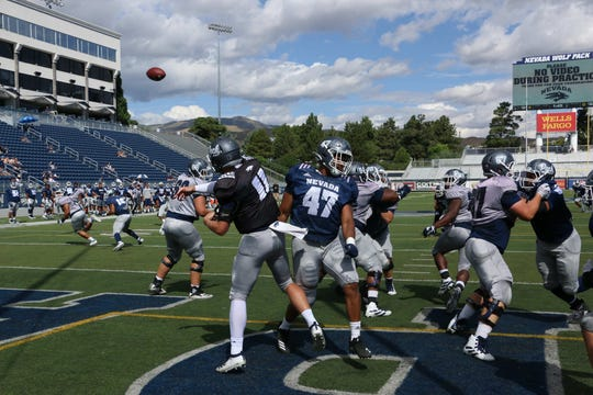 Nevada football practice and scrimmage at Mackay Stadium in Reno on Aug. 10, 2019.