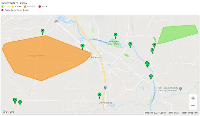 Some 1,800 customers were without power in the Happy Valley area on Saturday morning following an overnight thunderstorm. Another 47 customers had lost electricity east of Anderson.