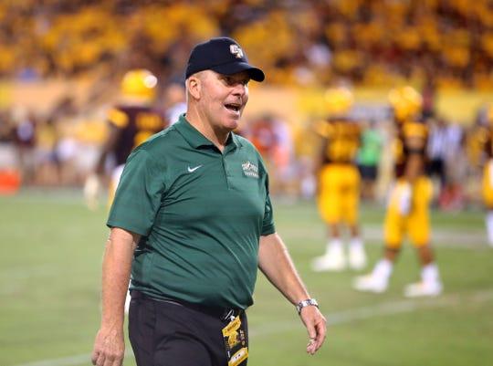 Sep 12, 2015; Tempe, AZ, USA; Cal Poly Mustangs head coach Tim Walsh against the Arizona State Sun Devils at Sun Devil Stadium. Mandatory Credit: Mark J. Rebilas-USA TODAY Sports