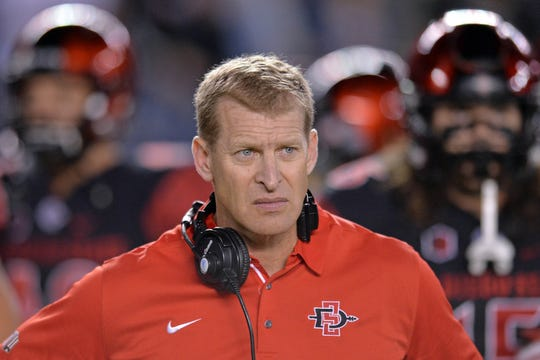 San Diego State Aztecs offensive coordinator Bobby Hauck looks on before the game Oct. 21, 2017. Hauck is now the head coach at Montana.