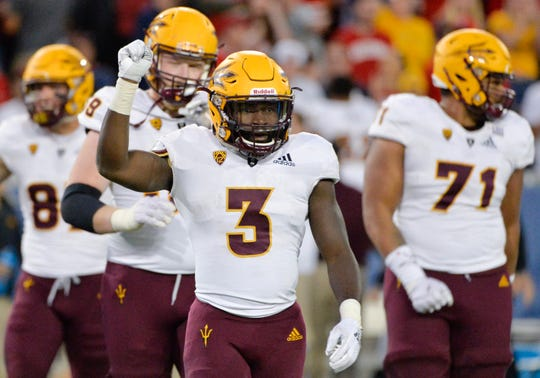 Nov 24, 2018; Tucson, AZ, USA; Arizona State Sun Devils running back Eno Benjamin (3) celebrates after Arizona Wildcats place kicker Josh Pollack (30) (not pictured) misses the field goal to lose the Territorial Cup at Arizona Stadium. Mandatory Credit: Casey Sapio-USA TODAY Sports