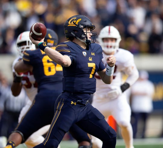 Dec 1, 2018; Berkeley, CA, USA; California Golden Bears quarterback Chase Garbers (7) passes against the Stanford Cardinal in the first quarter of the 121st Big Game, at California Memorial Stadium. Mandatory Credit: D. Ross Cameron-USA TODAY Sports
