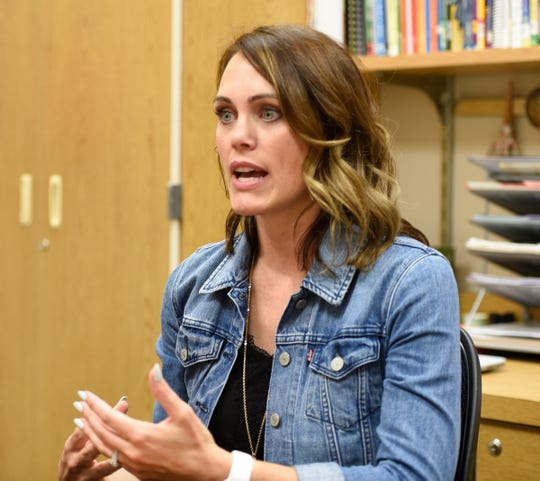 BriAnne Hern, principal at Lincoln Elementary School, speaks about the advantages of reconfiguring the grades Talahi and Lincoln will serve Thursday, Aug. 8, 2019, at Talahi Community School.