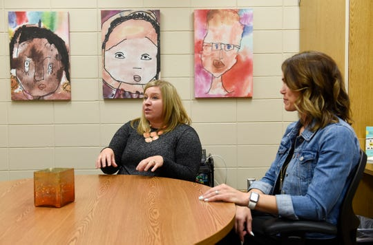 Nicole Hansen, left, principal at Talahi Community School, and BriAnne Hern, principal at Lincoln Elementary School, speak about the benefits of the reconfiguration of Talahi and Lincoln Thursday, Aug. 8, 2019, at Talahi Community School.