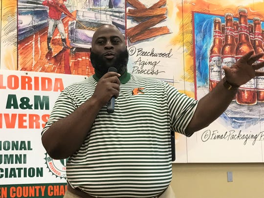 FAMU offensive line coach Alex Jackson speaks to the FAMU NAA Gadsden County chapter in Midway.