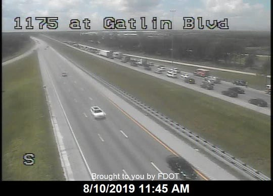 Southbound Interstate 95 traffic was stalled for a crash near Gatlin Boulevard on August 10, 2019