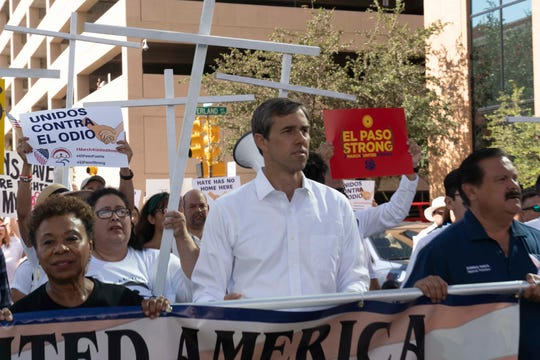 "8/10/19 9:28:57 AM -- El Paso, TX  --   Hundreds came to support the ""March for a United America,"" organized by the League of United Latin American Citizens (LULAC), including Presidential candidate Beto O'Rourke joined a group on Saturday on August 10, 2019. Photo by Nick Oza, Gannett"