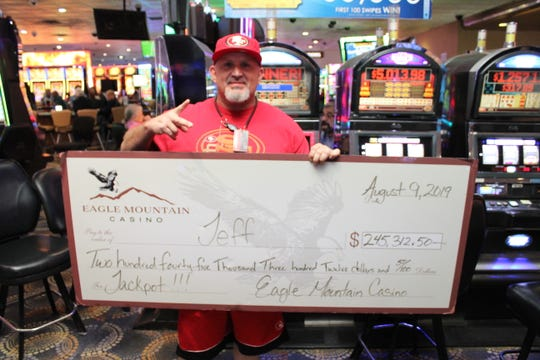 A Tulare County man hit the jackpot at Eagle Mountain Casino on Friday, Aug. 7, 2019.