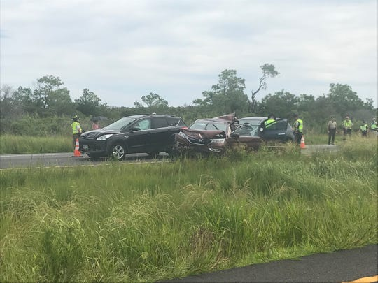 A crash involving multiple cars has closed Del. 1 north just south of Dewey Beach.
