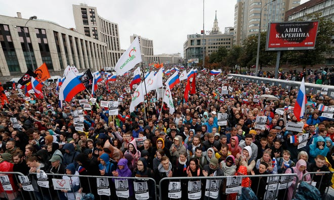 Russian liberal opposition gather for a rally protesting against unfair Moscow State Duma elections in the center of Moscow, Russia, August 10, 2019. The liberal opposition called their supporters to continue their protest actions against rejecting their candidates for Moscow City Duma elections, which are scheduled for September.