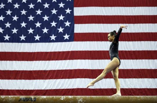 Morgan Hurd competes on the balance beam during the 2019 U.S. Gymnastics Championships in Kansas City, Missouri.