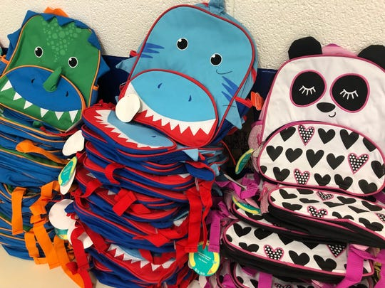 Some of the backpacks available to students at Reagan Elementary.