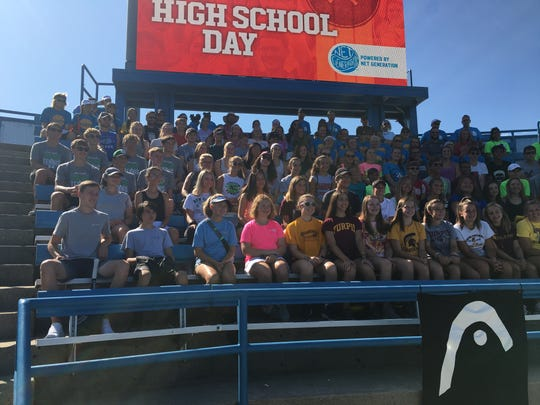 High school tennis players gathered at the Western & Southern Open Sunday morning for a chance to hit balls with top tennis pros
