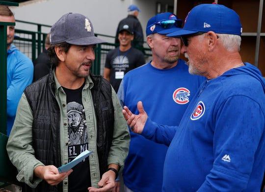 Die-hard Cubs fan Eddie Vedder made a stop by Principal Park on Saturday night.