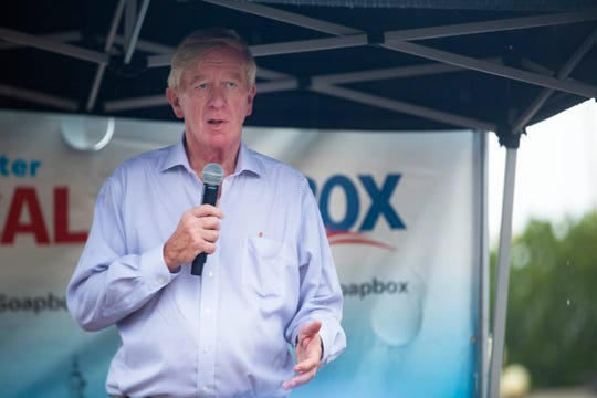 Former Massachusetts Gov. and 2020 candidate Bill Weld delivers a speech at the Des Moines Register Political Soapbox on August 11, 2019.