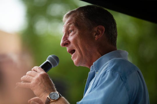 2020 presidential candidate Tom Steyer speaks at the Des Moines Register Political Soapbox on August 11, 2019.