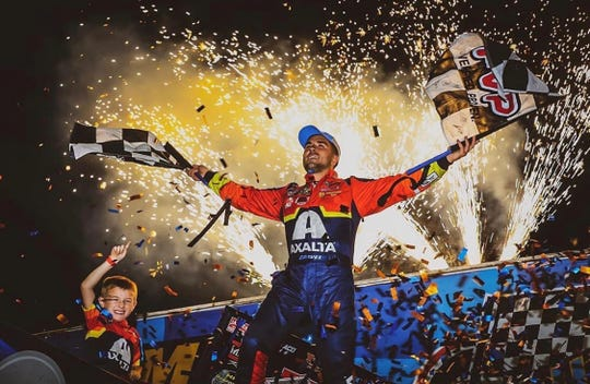 David Gravel won his first Knoxville Nationals in convincing fashion at the Knoxville Raceway in Knoxville, Iowa, on Saturday, Aug. 10, 2019.