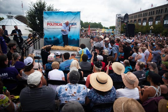 U.S. Sen. and 2020 presidential candidate Bernie Sanders speaks at the Des Moines Register Political Soapbox on August 11, 2019.