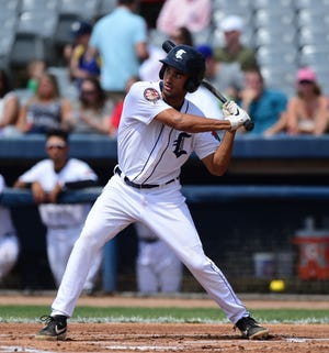 Riley Greene in action for the Connecticut Tigers. He played 24 games for them before getting promoted to West Michigan.