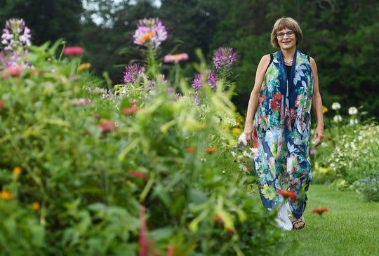 Karen Breda in a garden in West Hartford, Conn.