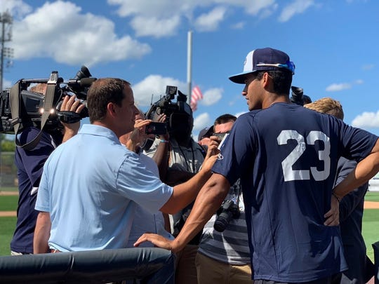 Riley Greene meets with reporters after arriving in West Michigan last week.