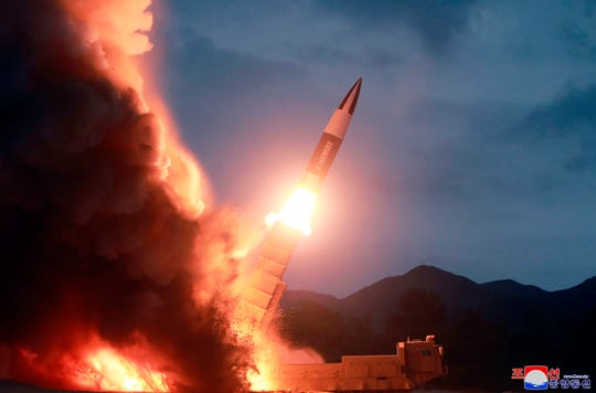 This Saturday, Aug. 10, 2019, photo provided by the North Korean government, shows what it says the launch of a short-range ballistic missile from the east coast of North Korea.