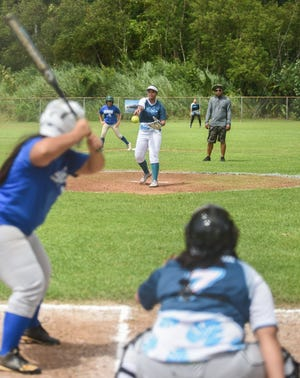 Southern pitcher Jeraila Martinez throws from the mound during an APL Women's Fastpitch Softball League scrimmage against the Islanders at the Mike S. Tajalle Baseball Field in Piti, Aug. 11, 2019.  Southern is the top seed headed into the single-elimination playoffs, which continue starting at noon Aug. 17 at Piti.