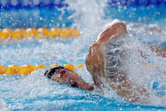 Drew Kibler of the United States competes to win the bronze medal in the men's swimming 200m freestyle final at the Pan American Games in Lima, Peru, Wednesday, Aug. 7, 2019.