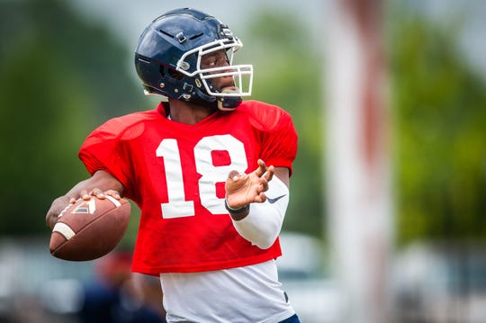 Former Florida QB Jalon Jones warms up before the open scrimmage on the campus of Jackson State University on Aug 10, 2019.