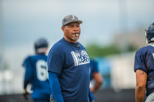 Head Coach John Hendrick looks on during the open scrimmage on the campus of Jackson State University on Aug 10, 2019.