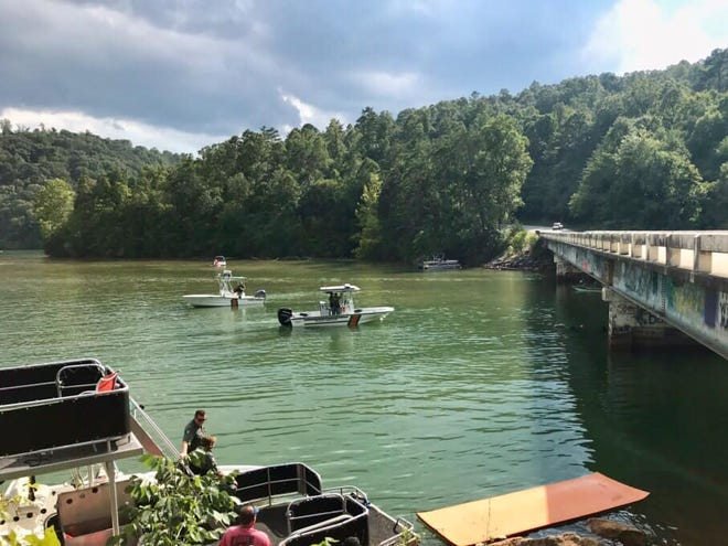 Crews search for Kevin Beyersdofer, 24 of Cincinnati, Ohio, who jumped from a pontoon boat into Norris Lake at Cedar Creek Bridge and never resurfaced.