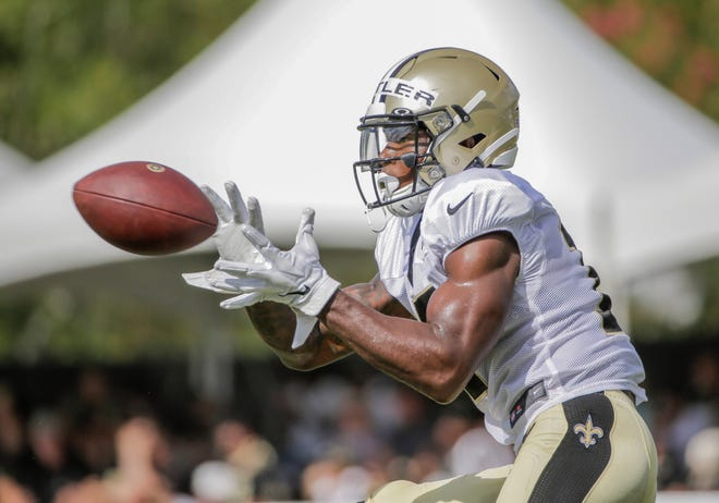 Jul 28, 2019; Metairie, LA, USA; New Orleans Saints wide receiver Emmanuel Butler (17) catches a pass during training camp at the Ochsner Sports Performance Center. Mandatory Credit: Derick E. Hingle-USA TODAY Sports