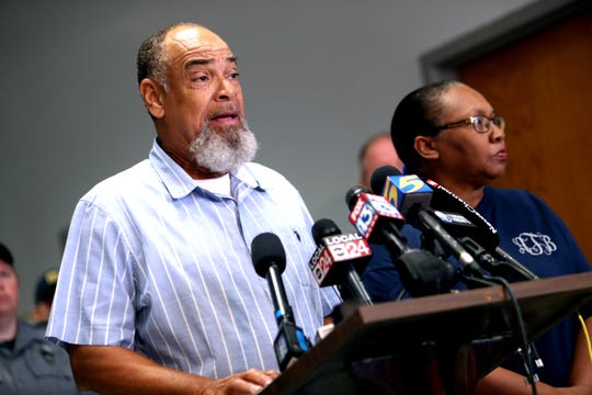 Harvey Taylor and his wife, Ann, speak at a press conference on Sunday, August 11, 2019, at the Lauderdale County Justice Center following the capture of Curtis Ray Watson. The couple provided the Ring doorbell video that helped narrow the search for Watson.