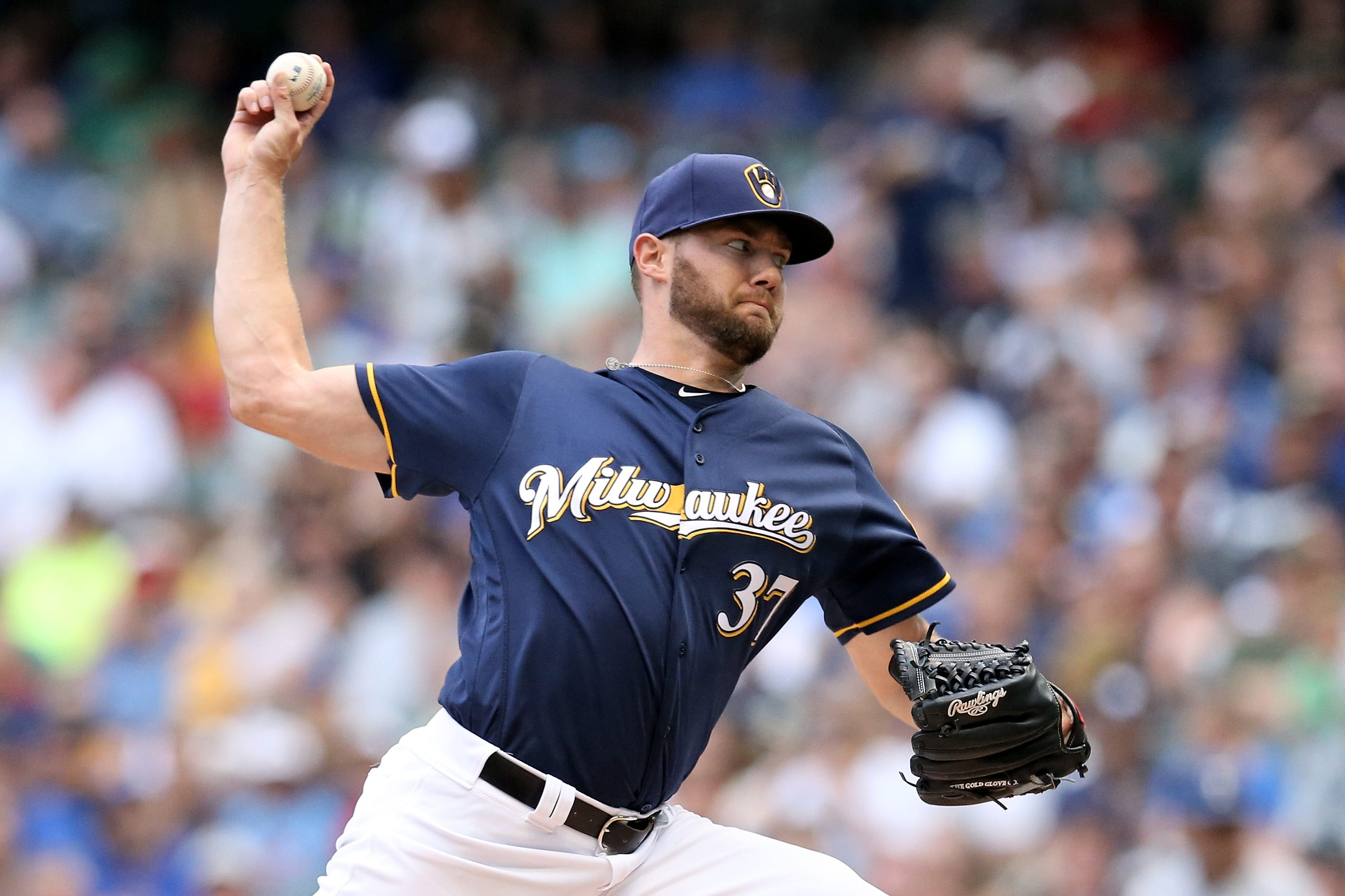 Brewers pitcher Adrian Houser threw up on the mound (again) after error thumbnail