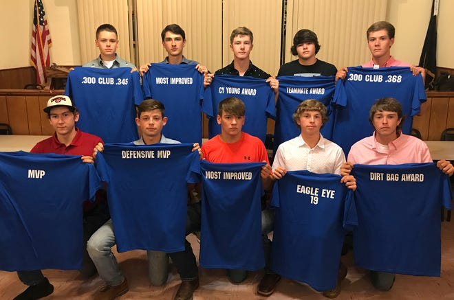 Members of the MacLeod Junior American Legion Baseball team who received awards at Saturday night's banquet are: (front row, from left) Michael Kreager, .300 Club (.396), Offensive MVP, Base Thief award, Most Valuable Player; Keegan Rickman, Defensive MVP; Wyatt Wallace, most improved; Wyatt Goodman, Eagle Eye award, Special K award; Payton Evans, Dirtbag award; (back row) Brycen Benedict, .300 Club (.345), Logan Ballard, most improved; Carter Graves, .300 Club (.353), pitching award; Atticus James, teammate award; and Rhett Carter, .300 Club (.368), Big E award. Not pictured is Andrew Cantway, .300 Club (.306).