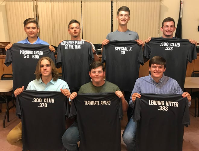 Members of the Mountain Home Lockeroom American Legion Baseball team who received awards at Saturday night's banquet are: (front row, from left) Garrett Steelman, .300 Club (.370); Tyler Smith, teammate award; Tyler Guffey, .300 Club (.393), hit-by-pitch award; (back row) Jim Strider, pitching award; Asa Smith, .300 Club (.327), Defensive MVP, Rod MacLeod scholarship; Will Uchtman, hustle award, Special K award; and Carter Bagwell, .300 Club (.333). Not pictured is Caleb Johnson, .300 Club (.387), Big E award, Eagle Eye award, home run award, RBI award, Offensive MVP, Mickey Huskey scholarship, and Most Valuable Player.