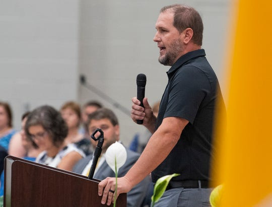 Montgomery Catholic athletic director Daniel Veres speaks as the school dedicates their new gym at the school in Montgomery, Ala., on Sunday August 11, 2019.