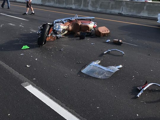 An Indiana State Police trooper from Yorktown was critically injured Saturday in a motorcycle accident on I-465 in Indianapolis.