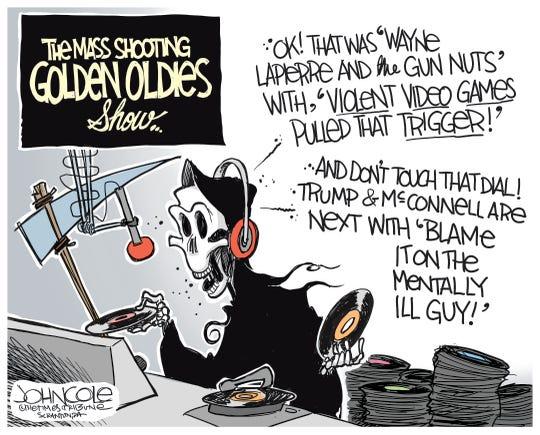 Grim Reaper plays gun hits.