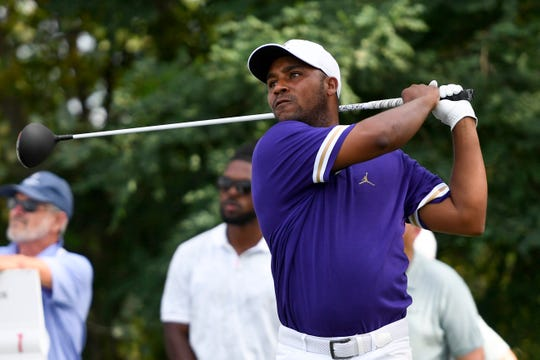 American golfer Harold Varner III watches the ball from the 18th tee during the final round of the PGA Northern Trust golf tournament on Sunday, August 11, 2019, in Jersey City. Varner III tied for third.