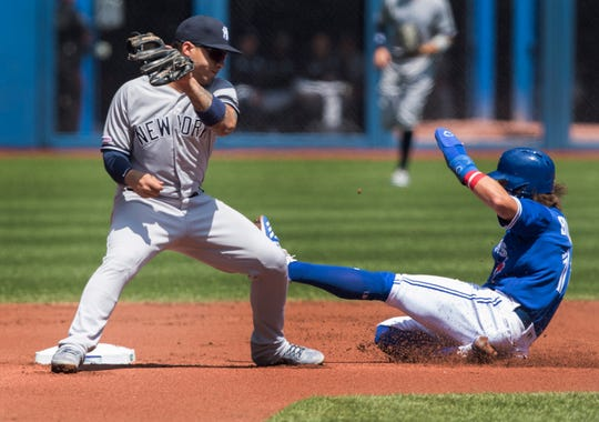 Toronto Blue Jays' Bo Bichette, right, is out stealing second base as New York Yankess Gleyber Torres is about to put the tag on him in the first inning of a baseball game in Toronto, Sunday, Aug. 11, 2019. (Fred Thornhill/The Canadian Press via AP)