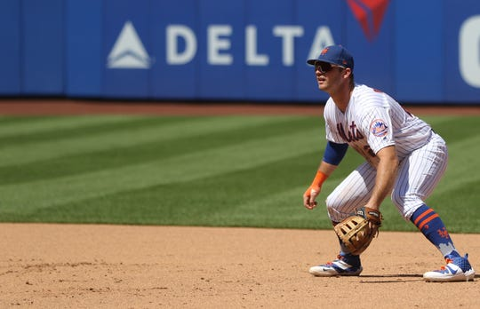 Pete Alonso plays first base for the Mets. Sunday, August 11, 2019